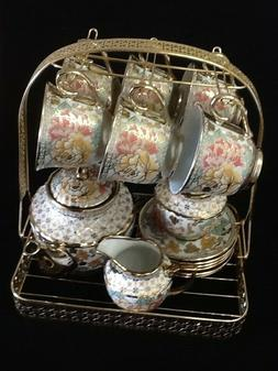 15pc Tea Set.Tea Pot 6 Cups & Saucers, Rack Coffee Cup Multi