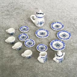15pcs 1:12 Dollhouse Miniatures Dining Ware Ceramic Flower T