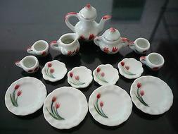 15Pcs Dining Ware Tea Set Dollhouse Miniatures Hand Paint Re