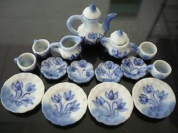15Pcs Dining Ware Tea Set Dollhouse Miniatures Hand Paint Tu