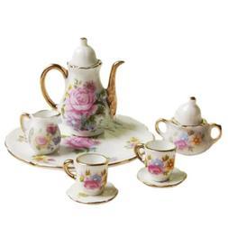 15Pcs,Dollhouse Miniature Dining Ware Porcelain Tea Set Dish