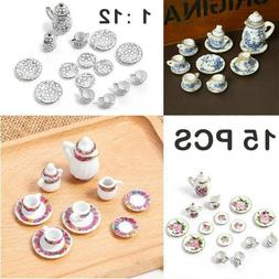 15pcs Dollhouse Miniature Dish Cup Plate Dining Ware Porcela