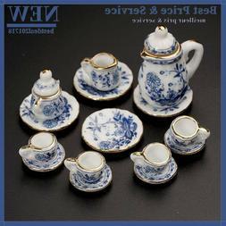 15pcs/set Baby Dining Ware Tea Sets Ceramic Dollhouse Miniat