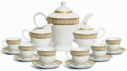 Euro Porcelain 17-pc Tea Cup Coffee Set, 24K Gold Greek Key