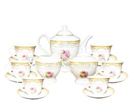 17 Pcs Gold Floral Design Tea Set, Service For 6 Persons