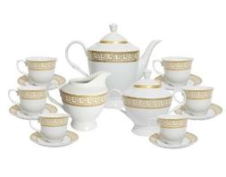 17 Pcs Gold Greek Key  Design Tea Set, Service For 6 Persons