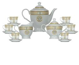 17 Pcs Gold Greek Key  Versailles Design Tea Set, Service Fo