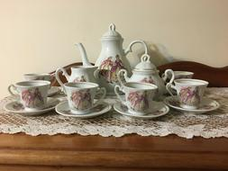 17 Piece Gilded Porcelain Demitasse Courting Victorian Coupl
