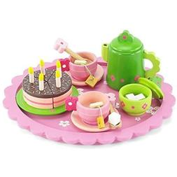 18 Dishes & Tea Sets Inch Doll Wooden  For Little Girls Cake