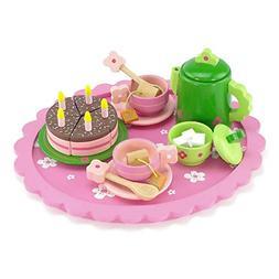 18 Inch Doll Wooden Tea Set 28 Pieces for Little Girls | Cak