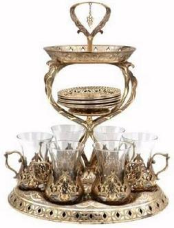19 Pc Ottoman Style Turkish Tea Set for 6 w/ Tower Tray Stan