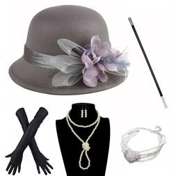 1920S Derby Hat Outfit Set Tea Flapper Party For Great Gatsb