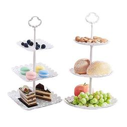 2 Set of 3-Tier Cake Stand and Fruit Plate Cupcake Plastic S