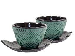2 Black Leaf Teacup Saucer + 2 Green Polka Dot Hobnail Japan