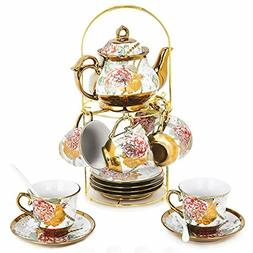 20 Piece European Ceramic Tea Set Porcelain Tea SetWith Meta