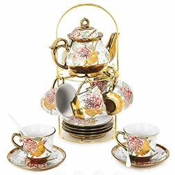 20 Piece European Ceramic Tea Set Porcelain Tea SetWith Meta