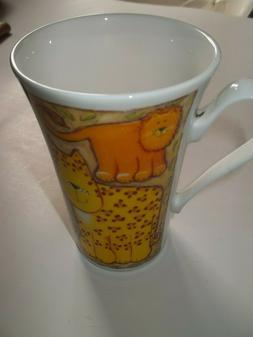 2002 Roy Kirkham Safari Cats Bone China Cup Mug Made in Engl