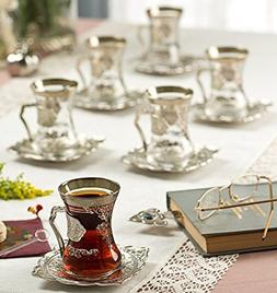 New 2017 Turkish Style Decorated Tea Glasses Cups Set for 6,