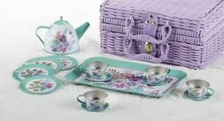 "2020 Children's Tin Tea Set for 4-Medium Size ""Ferns"" & Purp"