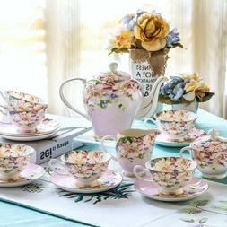 21 Pieces Vintage English Style Set Bone China Tea Kettle Te