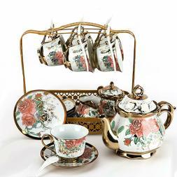 22PCS Chinese Tea Set Ceramic Coffee Pot Cup & Saucer Sugar