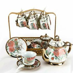 22pcs Royal Tea Set Household Ceramic Coffee Pot Cup&Saucer