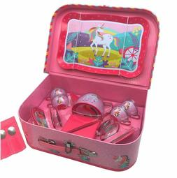 23 Pcs Pretend Tin Tea Set Including a Carrying case Unicorn
