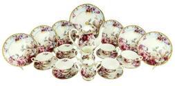 24-pc Euro Porcelain Tea Cup Coffee Set - 24K Gold Vintage D