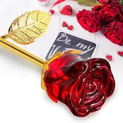 24K Gold Crystal Rose Dipped Flower Real Long Stem Valentine