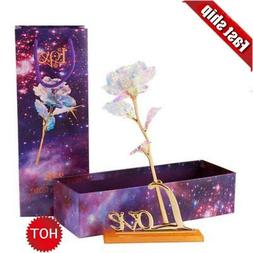 24K Gold foil LED Light Rose Dipped Flower Valentine's Day C