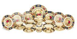 Euro Porcelain 24pc Roses Tea Cup Set Antique Blue 24K Gold