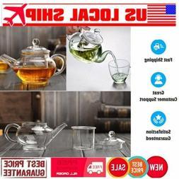 250mL Heat Resistan Glass Teapot With Infuser Coffee Tea Lea