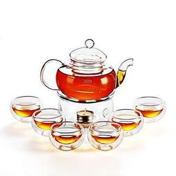 Kendal 27 oz Glass Filtering Tea Maker Teapot with a Warmer