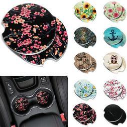 2pc Set Marble Ceramic Stone Round Car Coasters Mug Tea Cup
