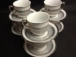 3 oz Espresso coffee 12 piece Cup Saucer Set Tea # 703 Silve