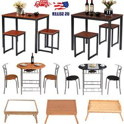 3 PCS Modern Counter Height Dining Table Set 2 Chairs Kitche