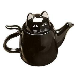 3 Piece Ceramic Black Cat Tea For Two Set - Stackable Kitty
