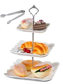 Jusalpha 3-tier Square White Ceramic Cake Stand Dessert Stan