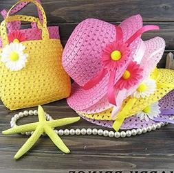 3 Girls Tea Party Sun Hat and Purse Sets. Includes 3 Purses