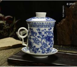 300ml Porcelain Ceramic Tea Cup Mug with Infuser + Lid + Sau