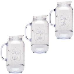 3pk Aladdin Mason Jar Plastic Drink Water Pitchers 2.5qt Car
