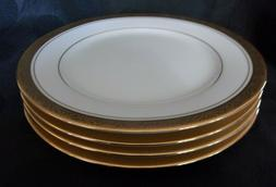 4 NORITAKE #4290 MAJESTIC GOLD ENCRUSTED SALAD PLATES,  MINT