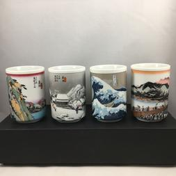 SET of 4 Japanese Porcelain Sushi Tea Cup Yunomi Hiroshige T