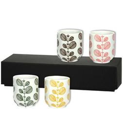 """SET of 4 Japanese 3""""H Sushi Tea Cup Gift Set Assorted Color"""
