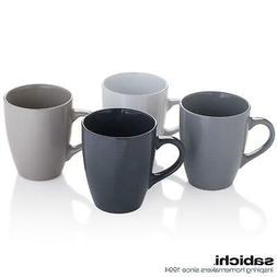 4 x Sabichi Textured Grey Large Tea Coffee Mug Set - Stonewa