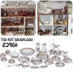 40pcs 1/12 Dollhouse Miniature Dining Ware Porcelain Dish/Cu