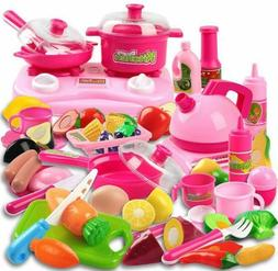 58 Piece Kitchen Cooking Set Girls Boys Fruit Vegetable Tea