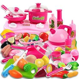 42 Piece Kitchen Cooking Set Girls Boys Fruit Vegetable Tea
