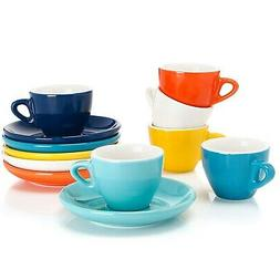 Sweese 4305 Porcelain Espresso Cups with Saucers - 2 Ounce -