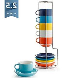 Sweese 4311 Porcelain Stackable Espresso Cups with Saucers a